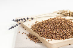 Pile of buckwheat seeds on the board. Pile of buckwheat seeds on the wooden board Royalty Free Stock Images