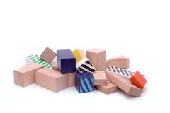 Pile of building blocks. A pile of colorful building blocks, isolated against a white background Stock Photography
