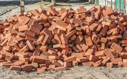 A pile of building bricks. A pile of brick building located on the city street Royalty Free Stock Images