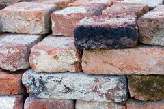 Pile of building bricks. Pile of old building bricks royalty free stock photos