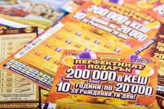 Closeup of Bulgarian national lottery tickets Stock Photos