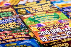 Different Bulgarian national lottery tickets Stock Photography