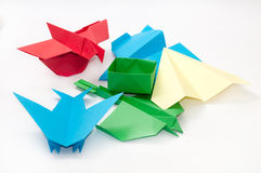 PILE BUNCH ORIGAMI OBJECTS PLANE BOAT Royalty Free Stock Photos