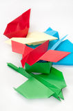 PILE BUNCH ORIGAMI OBJECTS PLANE BOAT Stock Photo