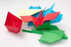 PILE BUNCH ORIGAMI OBJECTS PLANE BOAT Stock Photography