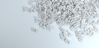 Pile or bunch of white figures numbers. Pile or bunch of white figures numbers isolated on white background. Concept image for education, maths, business or Royalty Free Stock Photo