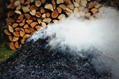 Pile of Burning Leaves Stock Photo