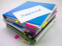 The Pile of Business Documents; Approved Stock Image