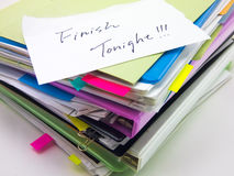 The Pile of Business Documents; Finish Tonight Royalty Free Stock Images