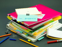 The Pile of Business Documents; In Progress Stock Photo