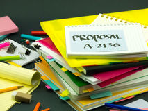 The Pile of Business Documents; Proposal. (Office Stock Photos