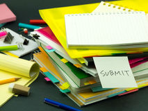 The Pile of Business Documents; Submit. (Office Royalty Free Stock Images