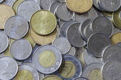 A pile of Canadian Change royalty free stock photography