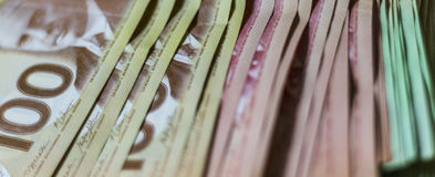 Pile of Canadian Money. A variety of Canadian Money Stock Photos