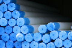 Pile of Candles. Blue Bottom part of pile of white candles Royalty Free Stock Photography