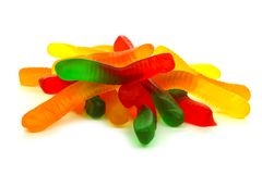 Pile of candy gummy worms over white Royalty Free Stock Photos