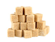 Pile of cane sugar cubes Royalty Free Stock Photography