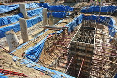 Pile cap formwork and excavated pile Royalty Free Stock Photos