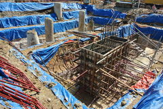 Pile cap formwork and excavated pile Stock Image