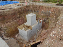 Pile cap. It is part of building substructure and foundation. SELANGOR, MALAYSIA – May 25, 2015: The building pile cap at construction site in Selangor Stock Image