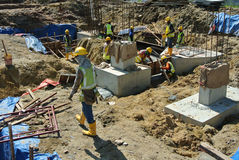 Pile cap is part of building substructure and foundation. SELANGOR, MALAYSIA – May 25, 2015: The building pile cap at construction site in Selangor Malaysia Stock Photos