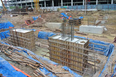 Pile cap is part of building substructure and foundation. SELANGOR, MALAYSIA – May 25, 2015: The building pile cap at construction site in Selangor Malaysia Royalty Free Stock Image