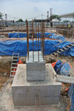 Pile cap is part of building substructure and foundation. SELANGOR, MALAYSIA – May 25, 2015: The building pile cap at construction site in Selangor Malaysia Royalty Free Stock Photo