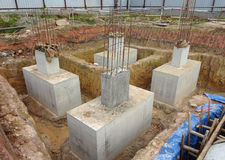 Pile cap is part of building substructure and foundation. Royalty Free Stock Photography