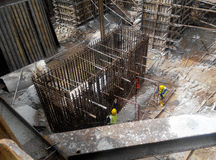 Pile cap reinforcement bar fabricated at the construction site Stock Image