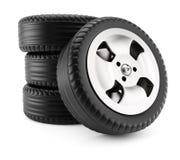 Pile of car wheels Stock Photos