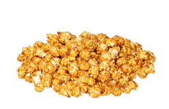 Pile of caramel pop corn isolated on white Royalty Free Stock Photography