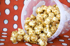 Pile of caramel popcorn. From the bucket Royalty Free Stock Photo