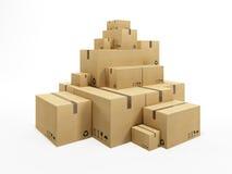 Pile of cardboard box. 3d render royalty free illustration