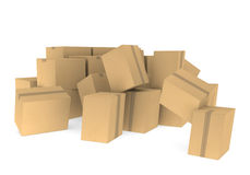 Pile of cardboard boxes. Piles of cardboard boxes on a white background Royalty Free Stock Image