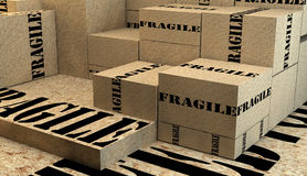 Pile of cardboard boxes with fragile sign Royalty Free Stock Photography