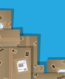 Pile of cardboard boxes. Illustration with copy paste vector illustration