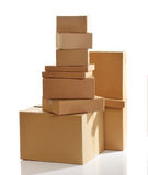 Pile of cardboard boxes isolated Royalty Free Stock Image