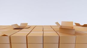 Pile of cardboard boxes  on white. 3d rendering. Pile of cardboard boxes  on white Royalty Free Stock Photography
