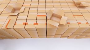 Pile of cardboard boxes  on white. 3d rendering. Pile of cardboard boxes  on white Royalty Free Stock Images