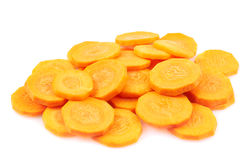 Pile of carrot circles isolated Stock Photo