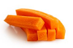 Pile of carrot sticks isolated on white. Pile of rectangle carrot sticks isolated on white Stock Image