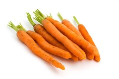 Pile of carrots over white Royalty Free Stock Photo