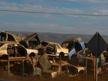 Pile of Cars. Dilapidated cars in a junkyard in the Baja Royalty Free Stock Photography