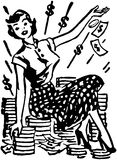 On Pile Of Cash夫人 库存照片