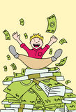 Pile of Cash. Young man lands on a stack on money Royalty Free Stock Images