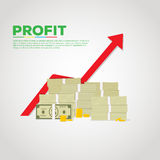 Pile of cash with arrow Royalty Free Stock Photography