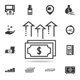 Pile of cash dollar bill arrows up icon. Detailed set of finance, banking and profit element icons. Premium quality graphic design. One of the collection icons Royalty Free Stock Images