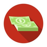 Pile of cash icon in flat style isolated on white background. Rest and travel symbol stock vector illustration. Royalty Free Stock Photography