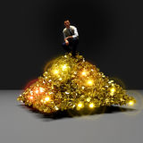 Pile of cash. Man sitting on huge pile of gold coins royalty free illustration