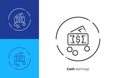 A pile of cash money line art vector icon. Business profit line art icon, investition earnings vector art, outline online cash exchange illustration Royalty Free Stock Photo